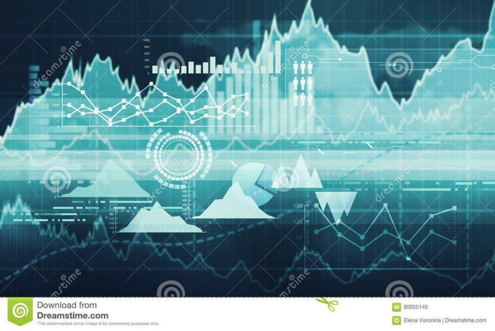 medium resolution of abstract business chart with uptrend line graph bar chart and diagram in bull market on dark blue background with red rose spot
