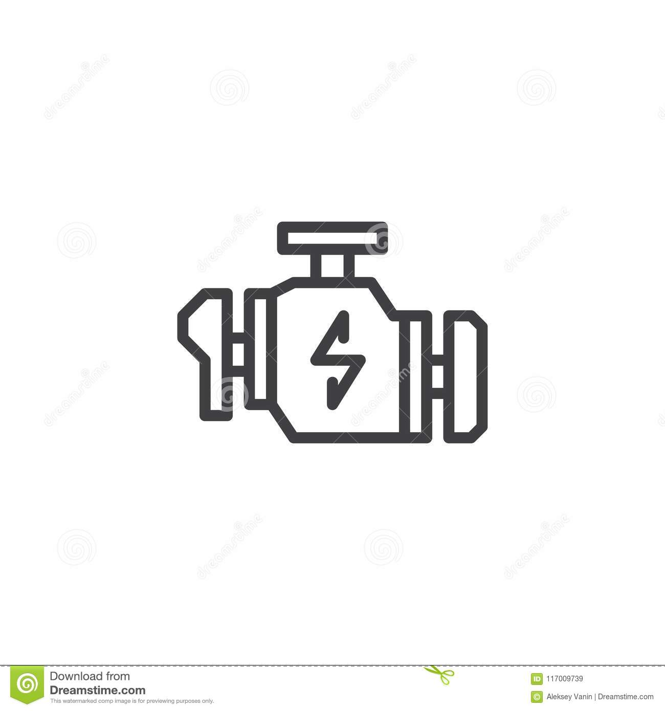 Check Engine Warning Sign Outline Icon Stock Vector