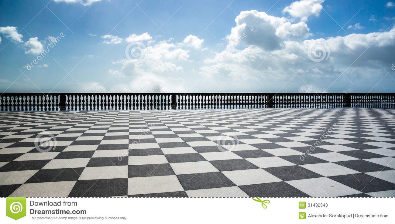 Checkered Floor In City Square Stock Photo  Image of street tiled 31482340