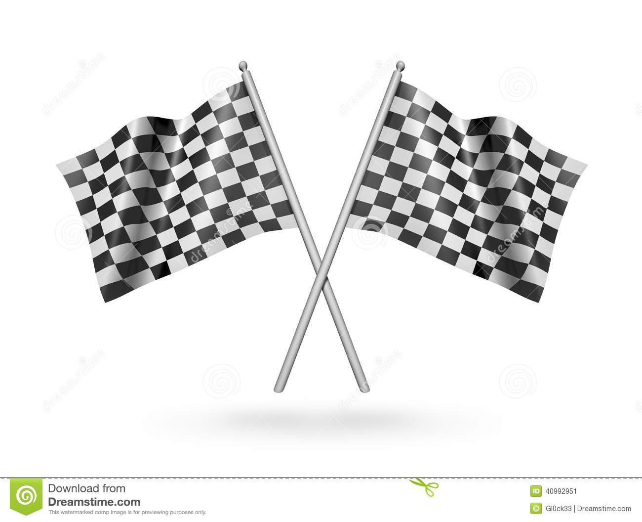 Checkered Racing Flags 3d Illustration Stock Illustration