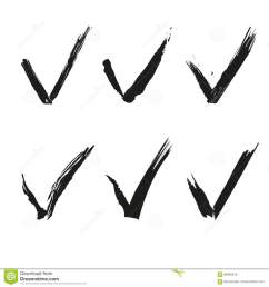 set of check mark ink drawing clipart stock [ 1300 x 1390 Pixel ]