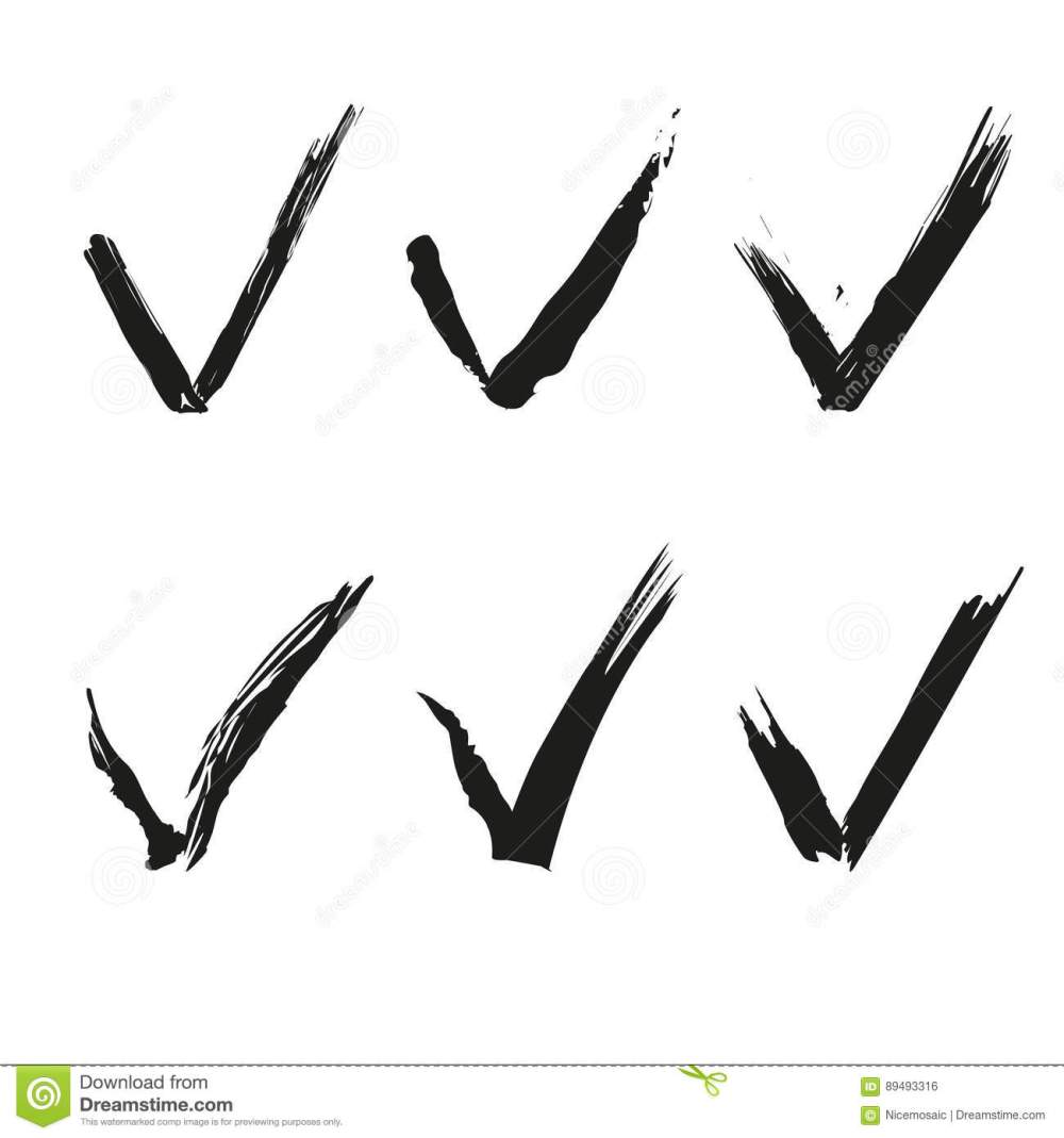 medium resolution of set of check mark ink drawing clipart stock