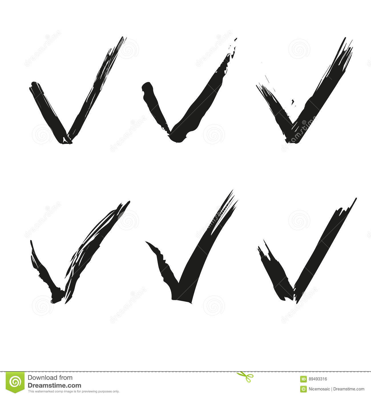 hight resolution of set of check mark ink drawing clipart stock