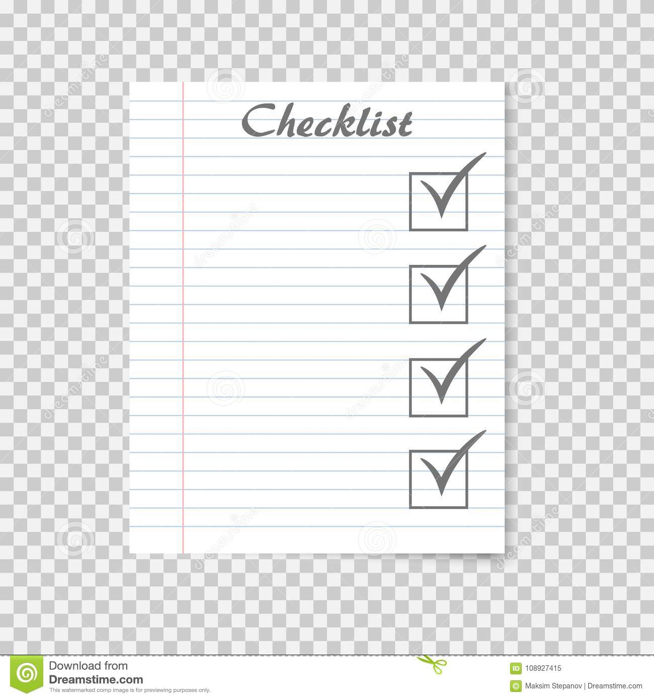 Checklist Concept To Do List On School Notebook Paper