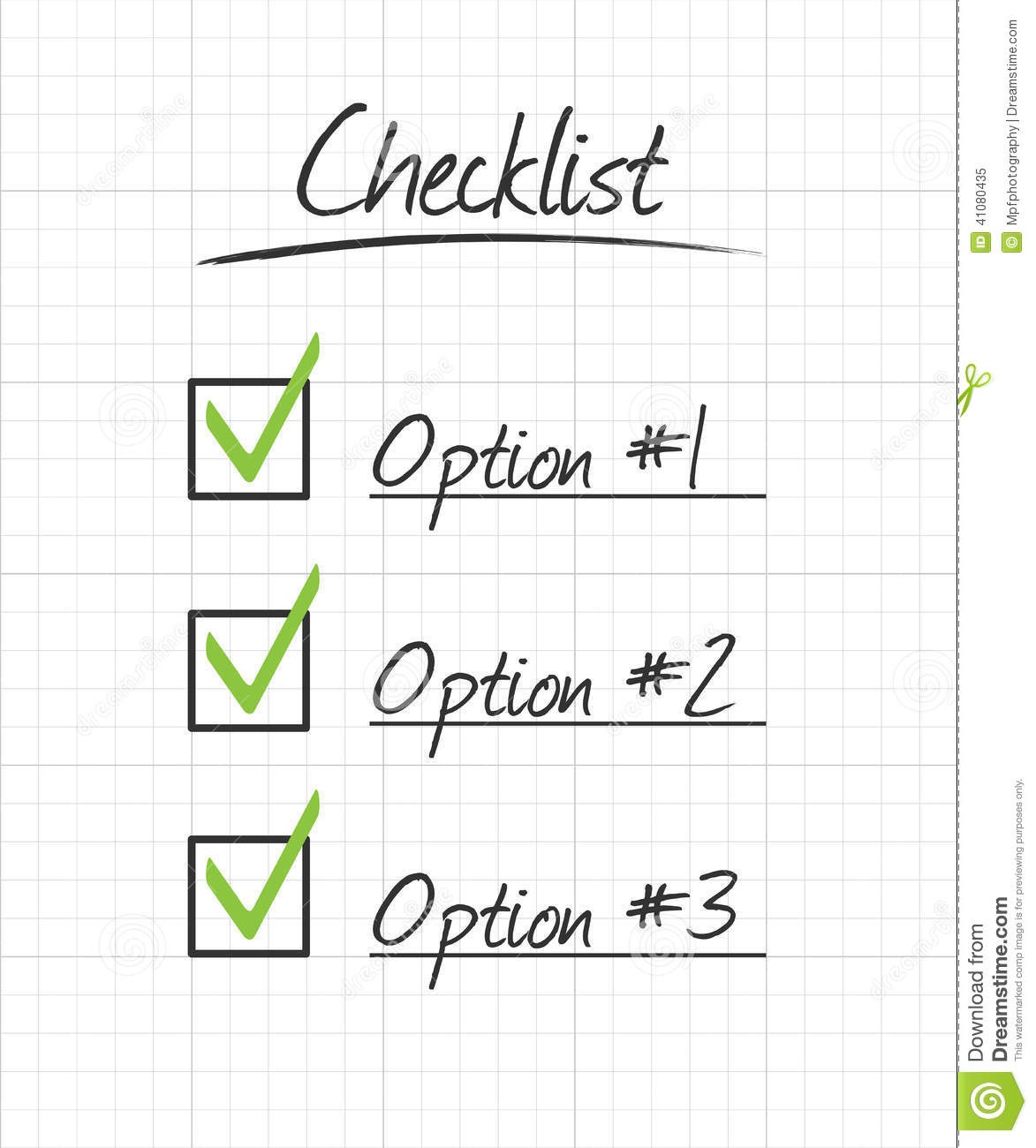 Checklist On Ruled School Paper Grid With Hand Dra Stock