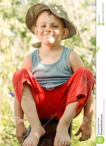 Cheeky Young Barefoot Country Boy Stock - Of