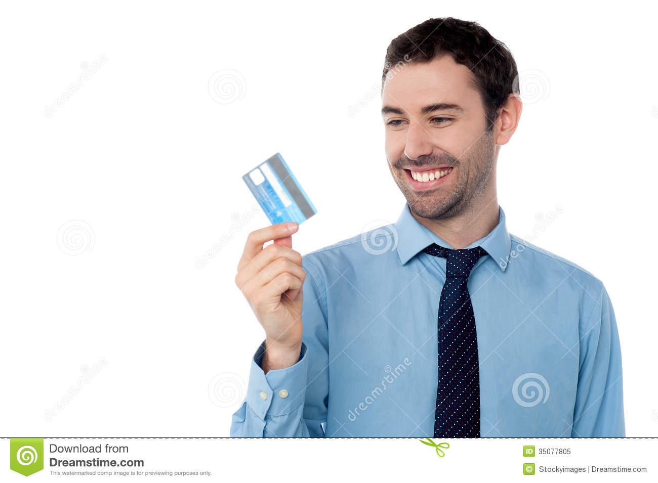 cheerful businessman holding credit
