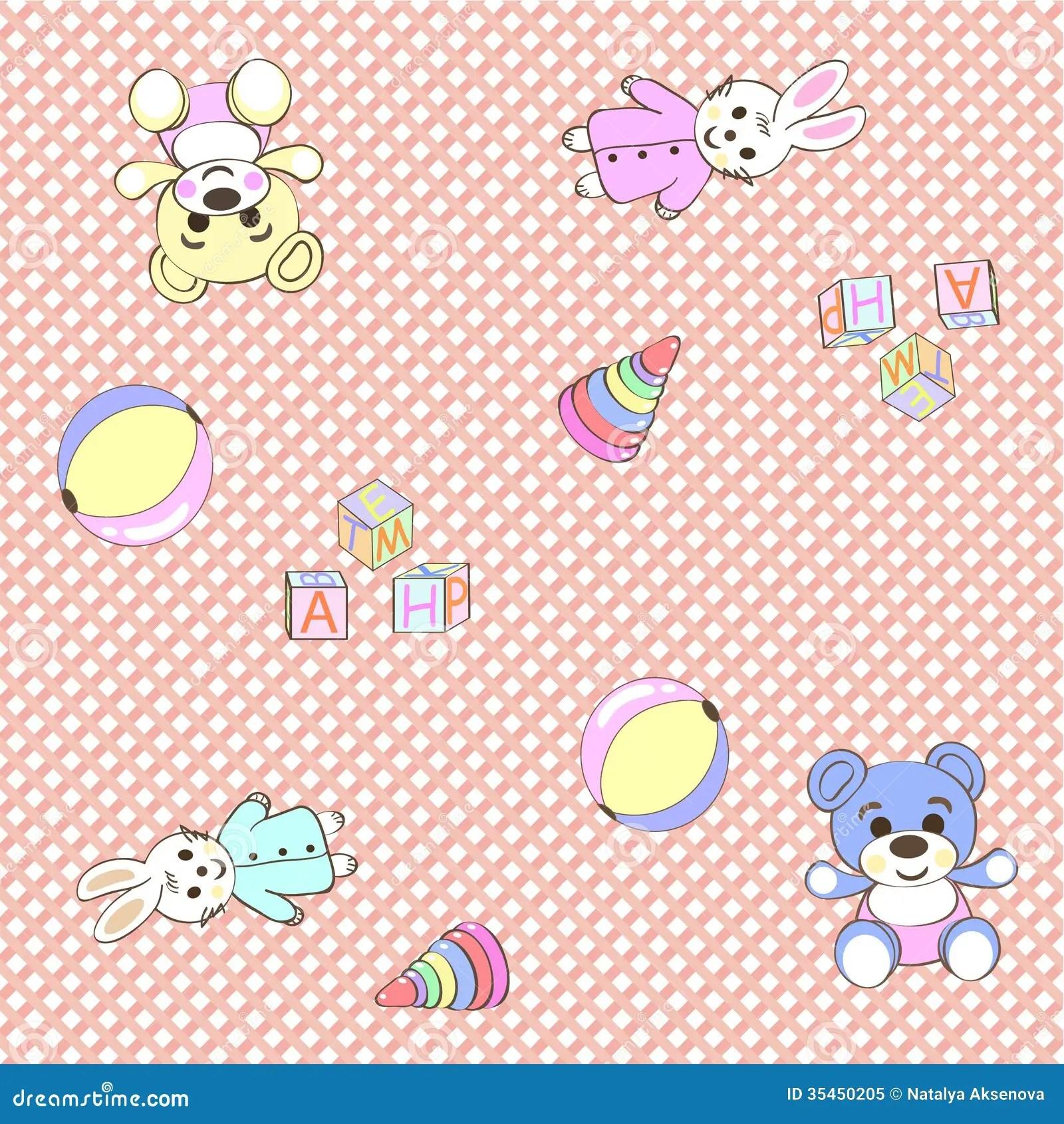 Cute Baby Girl Child Wallpaper Cheerful Children Wallpaper Illustration Texture Royalty