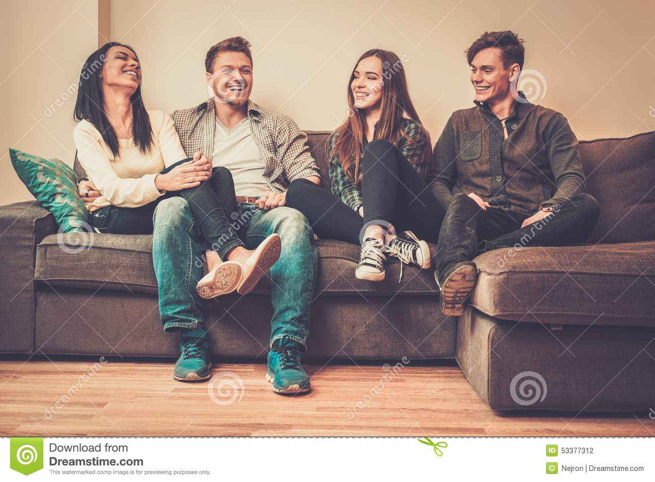 sofa from friends oregon brown faux leather bed cheerful on a stock photo image 53377312