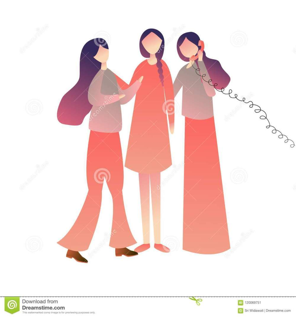 medium resolution of cheerful friends woman girls standing on call together enjoying playing old wired phone commubnication symbol