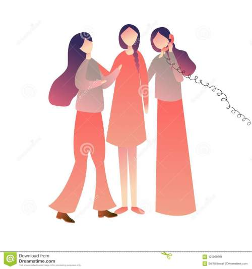 small resolution of cheerful friends woman girls standing on call together enjoying playing old wired phone commubnication symbol