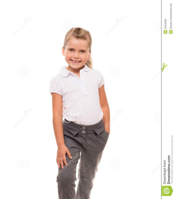 Cheerful Little Girl Wearing White T-shirt And Pants