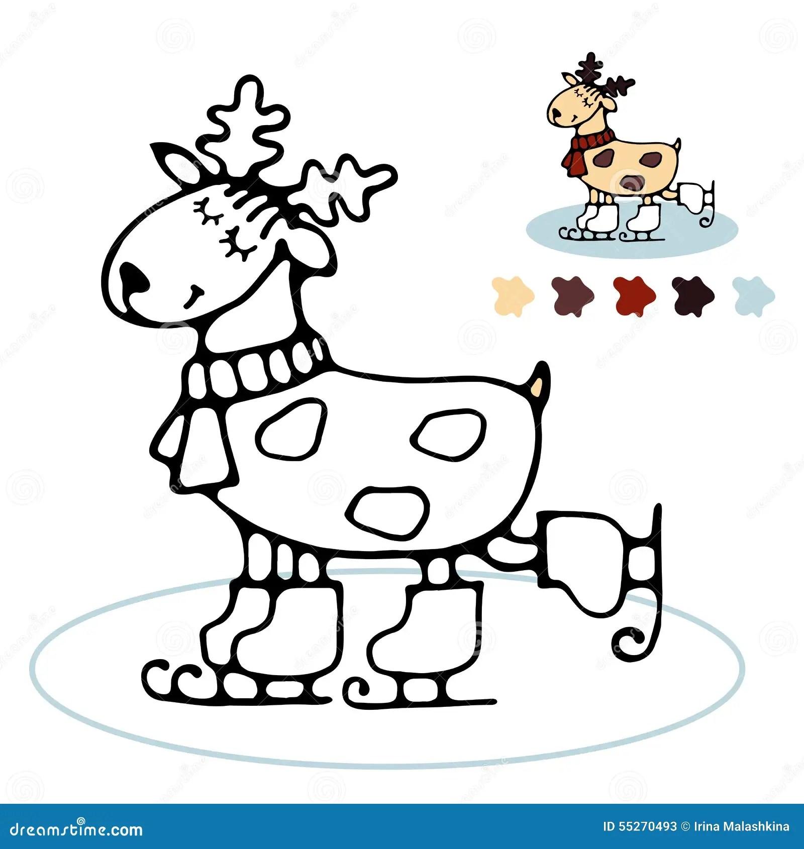 Cheerful Reindeer Skating Coloring For Kids Stock Vector