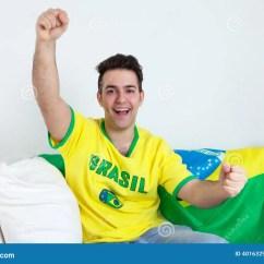 Sport Team Sofas Custom Design Sofa Cheering Brazilian Sports Fan On Stock Photo Image