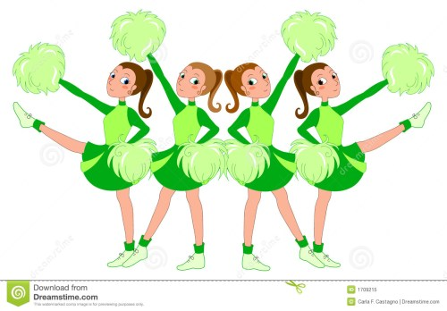 small resolution of a team of cheerleaders in green dress vector illustration