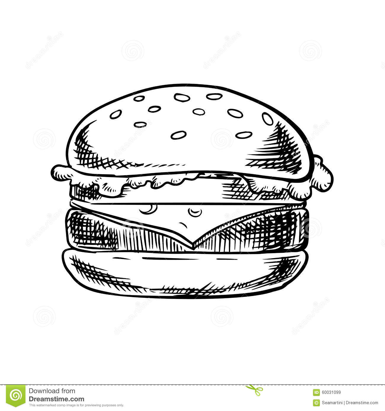 Cheeseburger With Beef Vegetables And Cheese Stock Vector