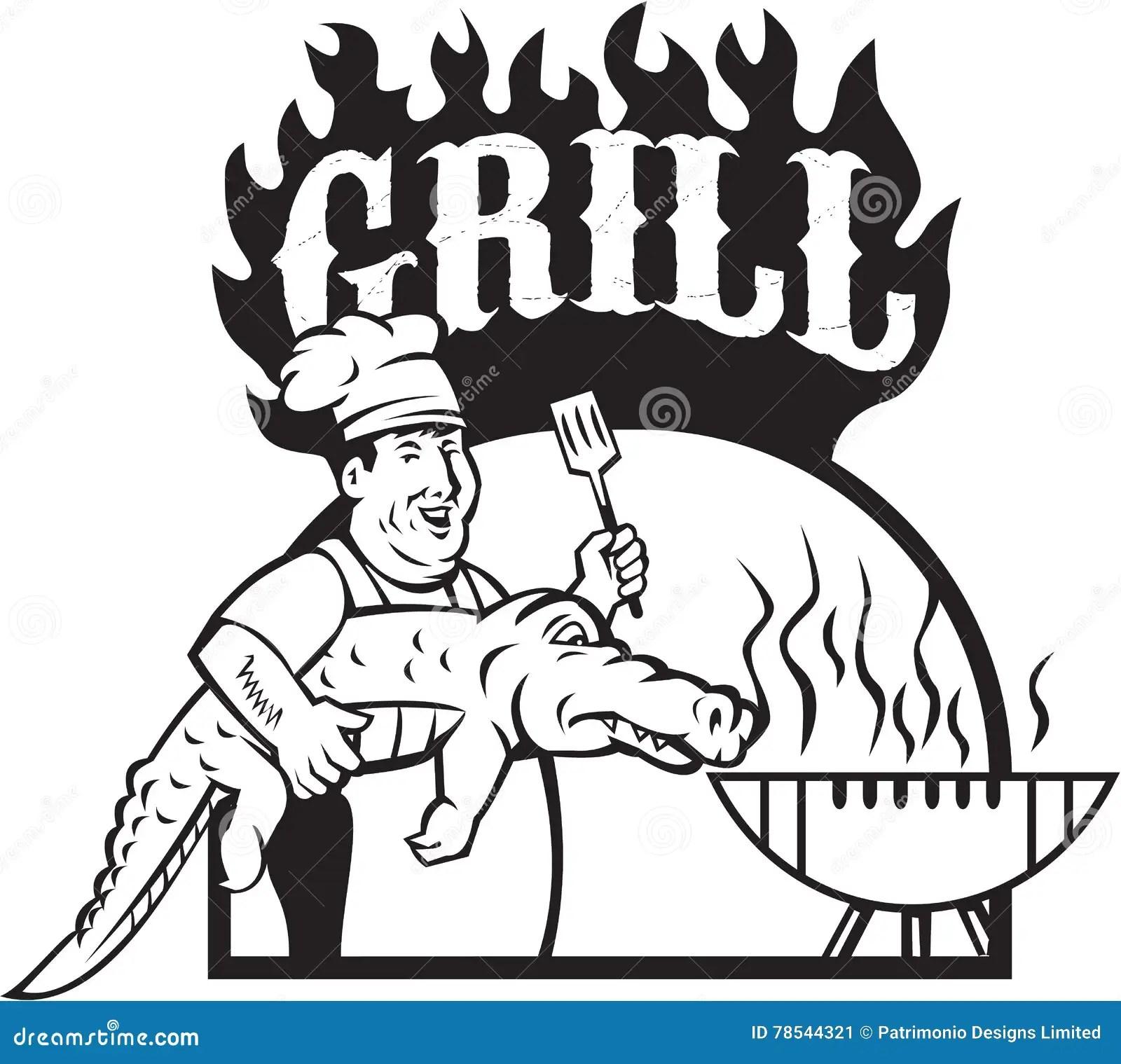 Chef Alligator Spatula Bbq Grill Fire Circle Cartoon