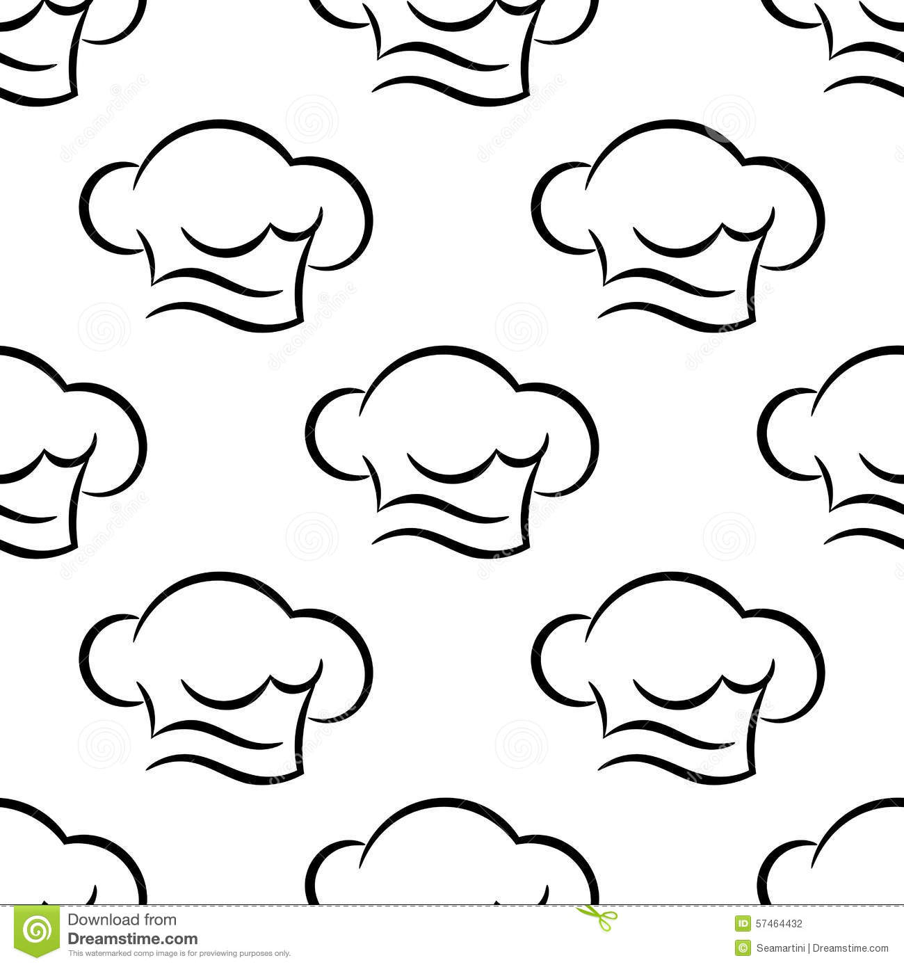Chef Or Cook Caps Seamless Outline Pattern Stock Vector