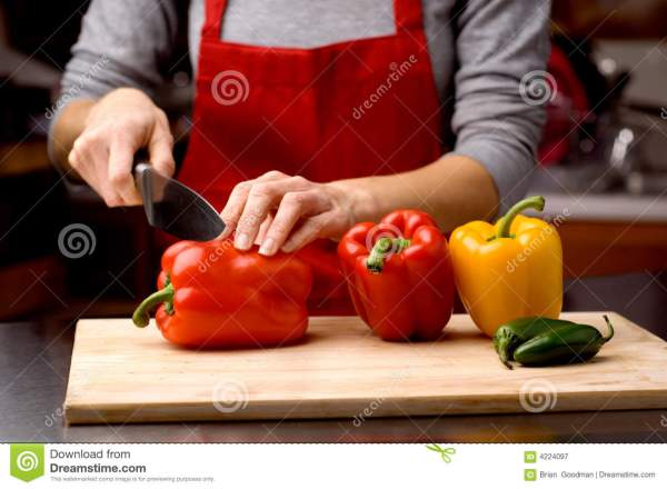 Chef cutting peppers stock image Image of kitchen