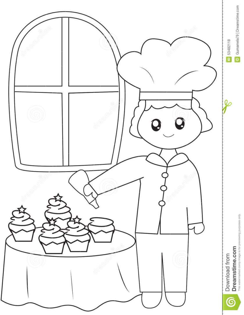 the chef  his cupcakes coloring page stock