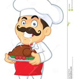 clipart picture of a chef cartoon character holding a baked chicken [ 1000 x 1300 Pixel ]