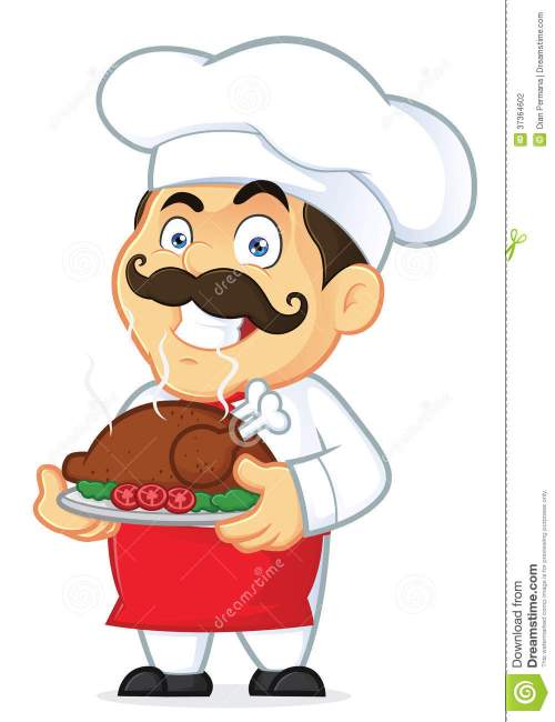 small resolution of clipart picture of a chef cartoon character holding a baked chicken