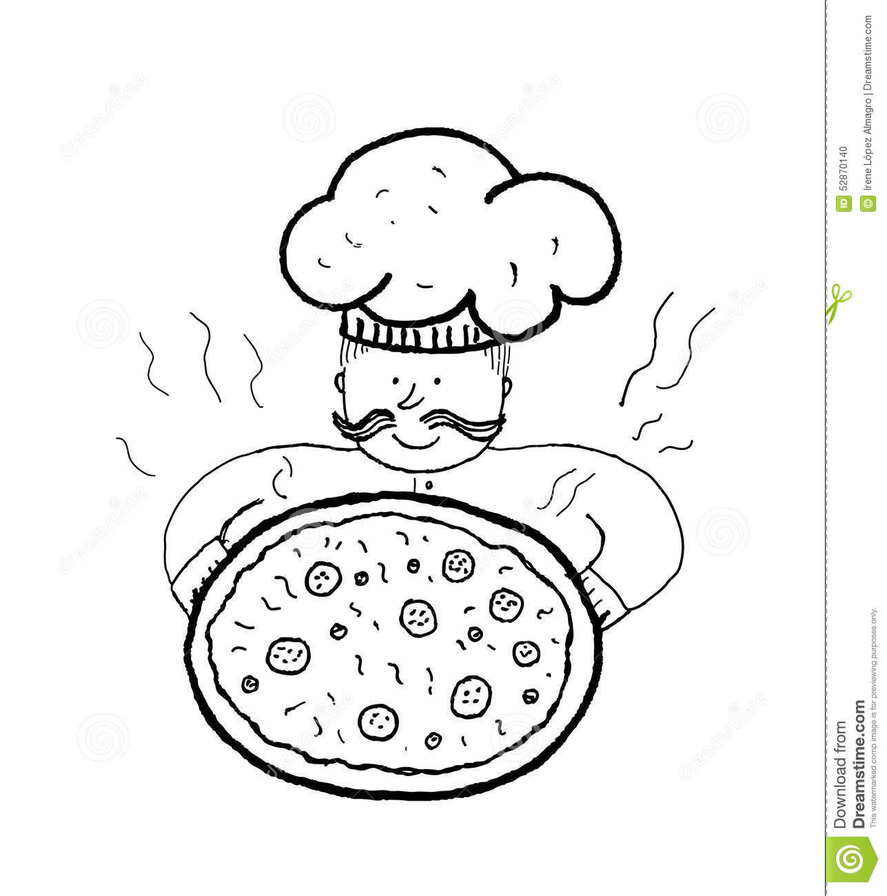 Chef With Pizza Handmade Ink Stock Vector