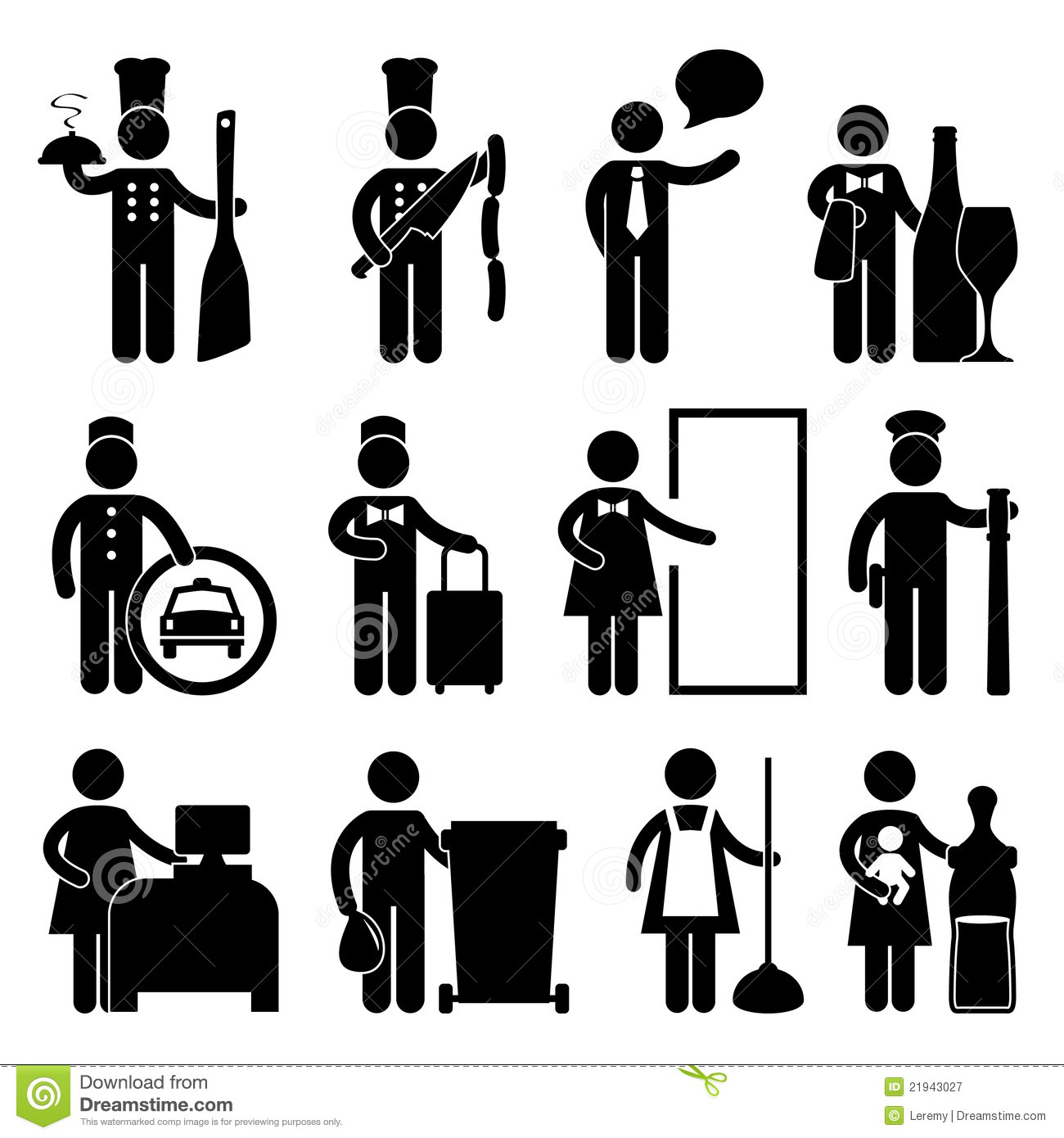 Chef Waiter Butler Driver Bellman Pictogram Stock Vector