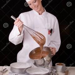 Black Stainless Steel Kitchen Amazon Mat Chef Whisks Cake Batter Stock Image. Image Of Girl, ...