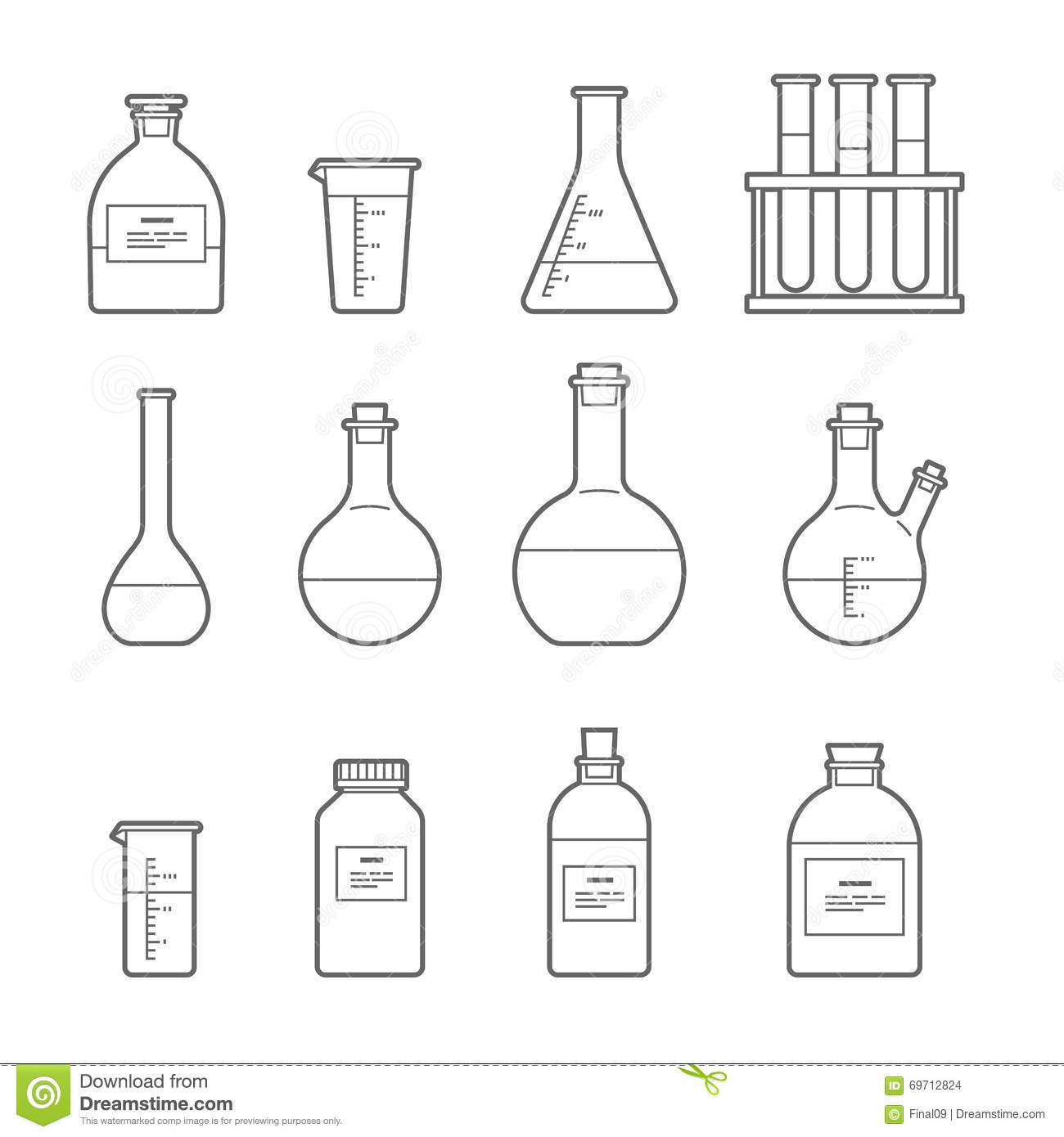 Chemical Glassware Icon Stock Vector