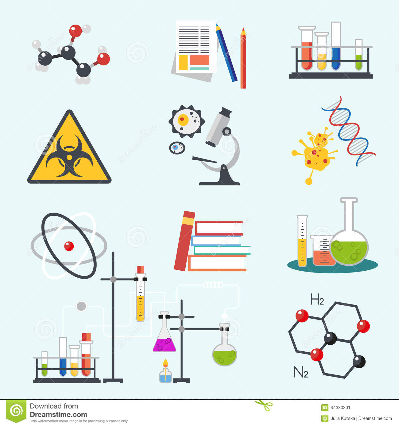 Chemical Laboratory Science And Technology Flat Style