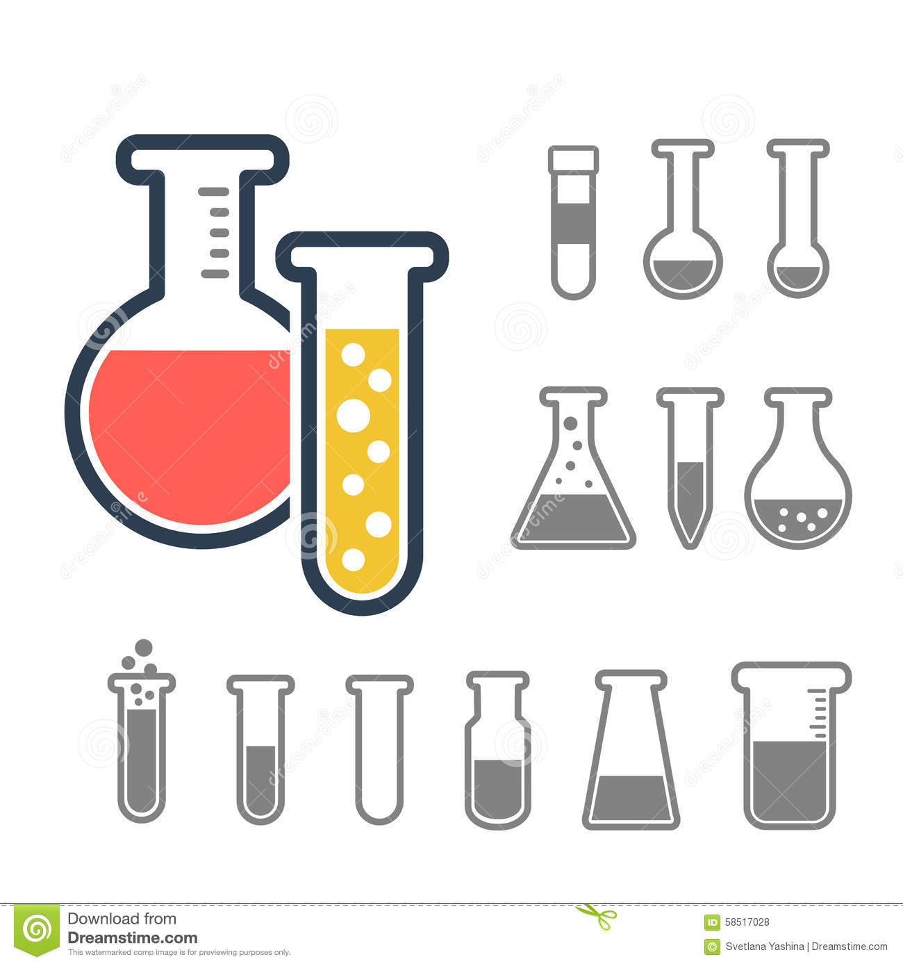Chemical Test Tubes Icons Stock Vector Illustration Of Icon
