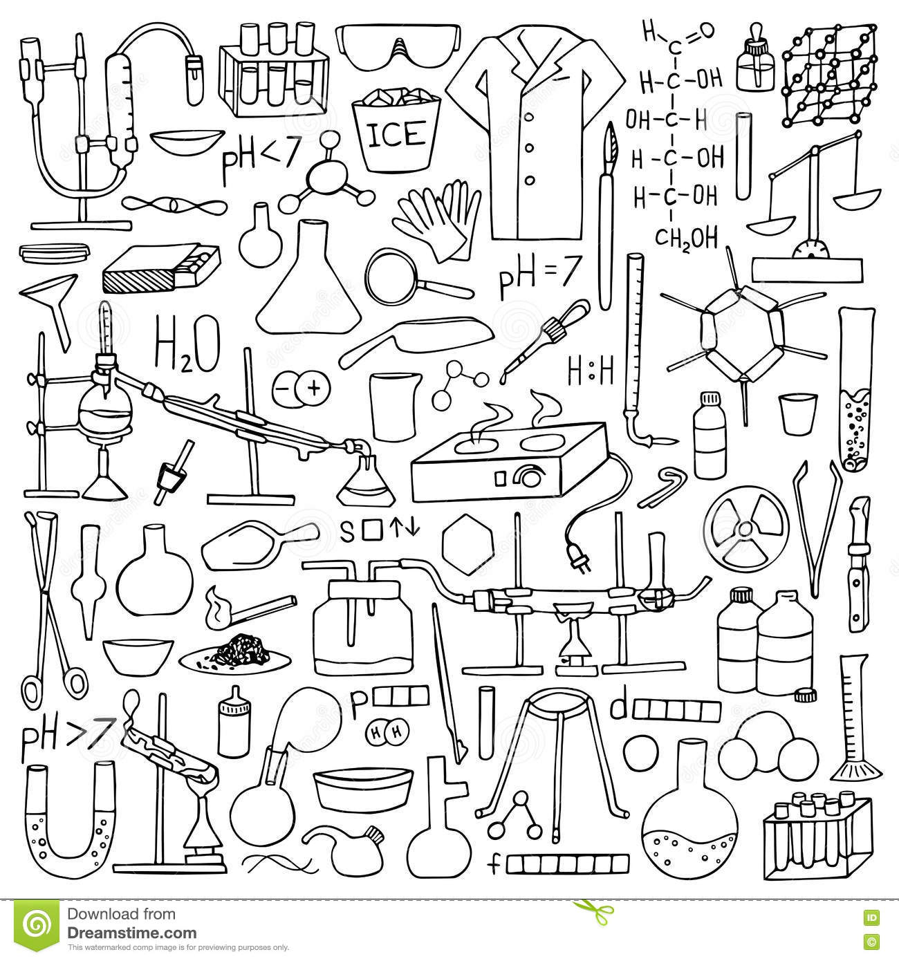 Chemistry doodle set stock vector. Illustration of