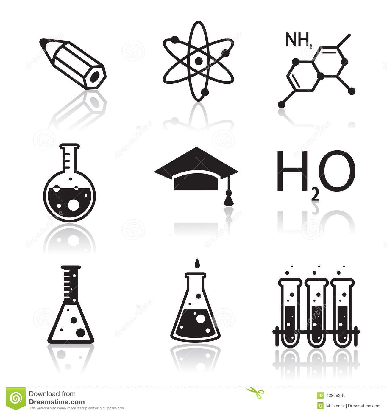 Chemistry Icons For Learning And Web Applications Stock