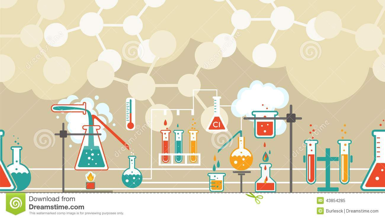 Chemistry 3d Wallpapers Chemistry Infographic In A Seamless Pattern Stock Vector