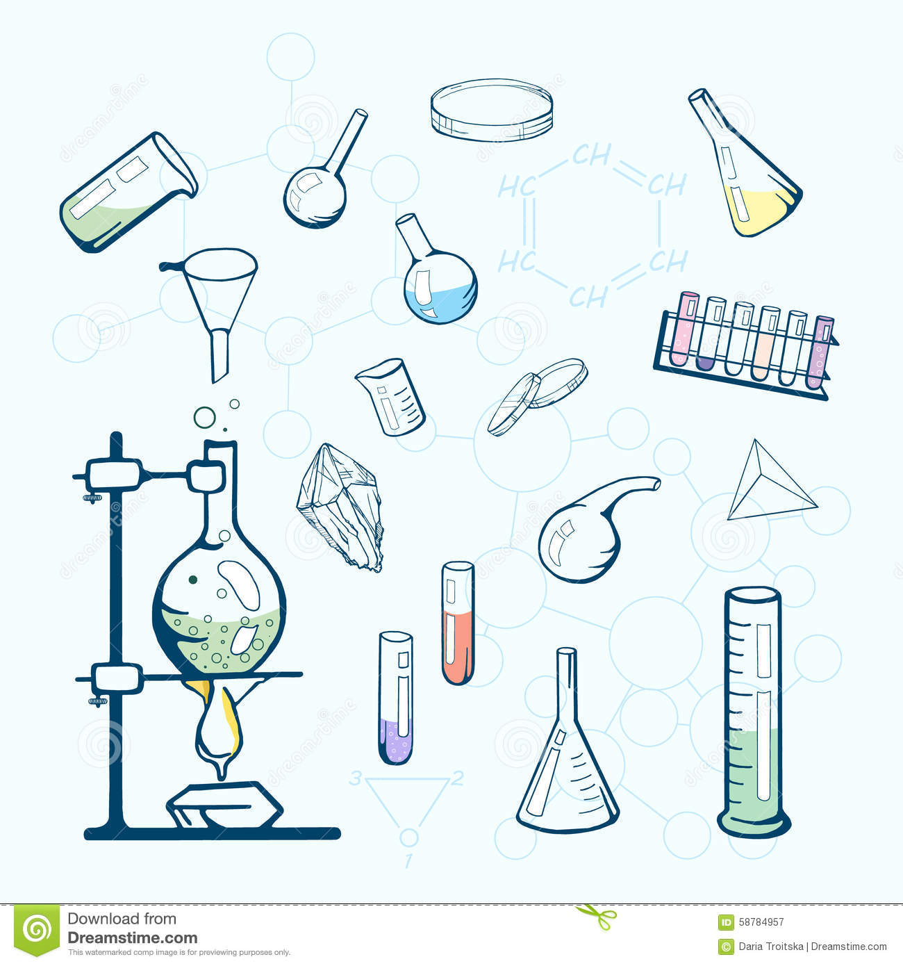 Chemistry Lab Icons Sketched Illustration Stock Vector