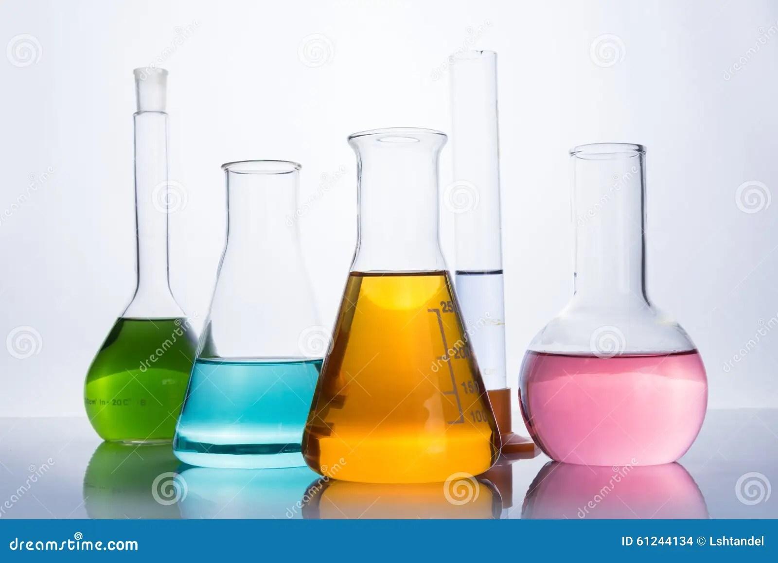 Chemistry Laboratory Equipment Flasks And Test Tube Stock Photo