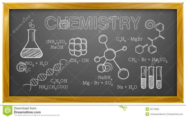 Chemistry Science Chemical Elements Blackboard Stock