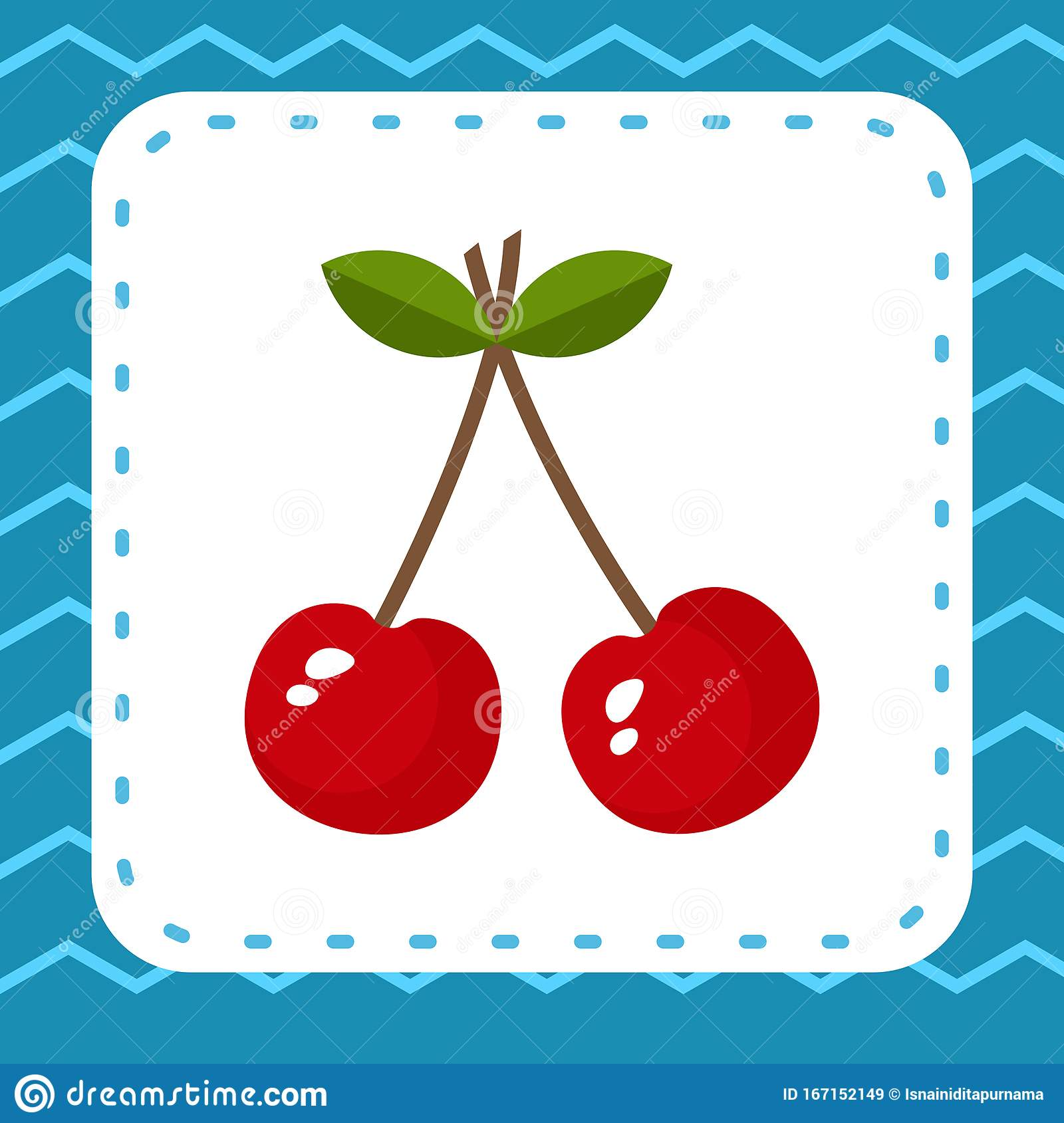 Cherry Fruits And Leaf Coloring Colorful For Childreen