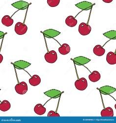 cherry pattern vector outline cartoon seamless