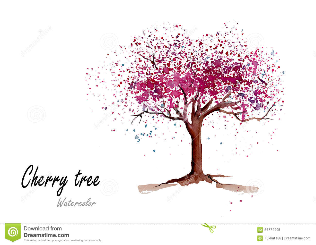 Cherry TreeHand Drawn Watercolor Painting On White