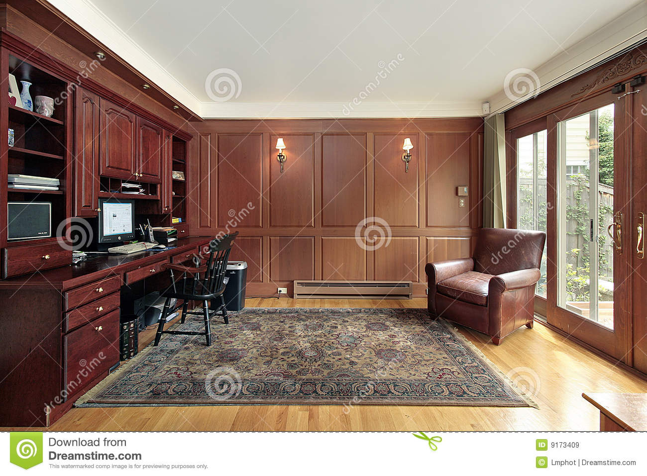 Cherry Wood Paneled Library Stock Image  Image of light