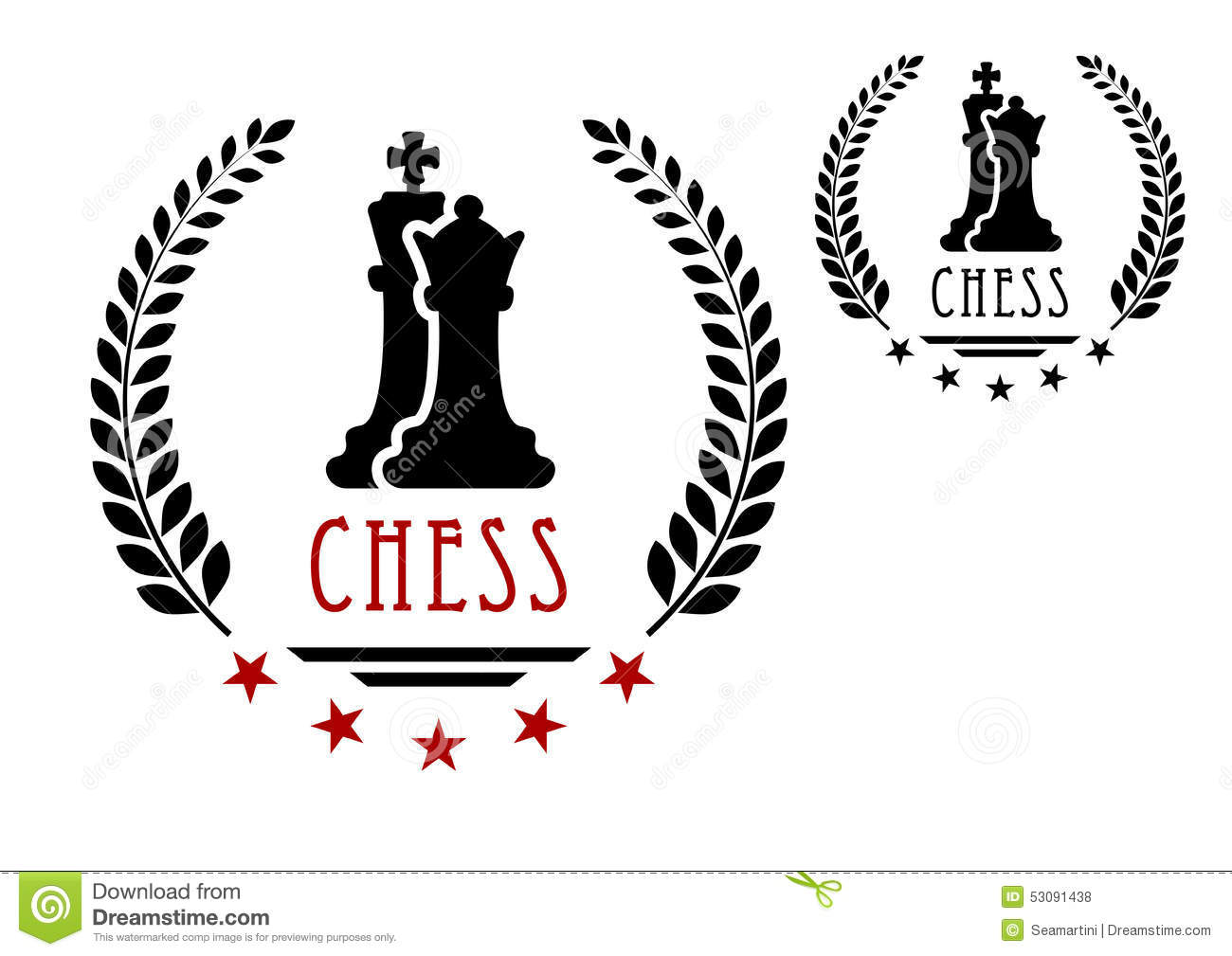 Chess Game Emblem With King And Queen Stock Vector