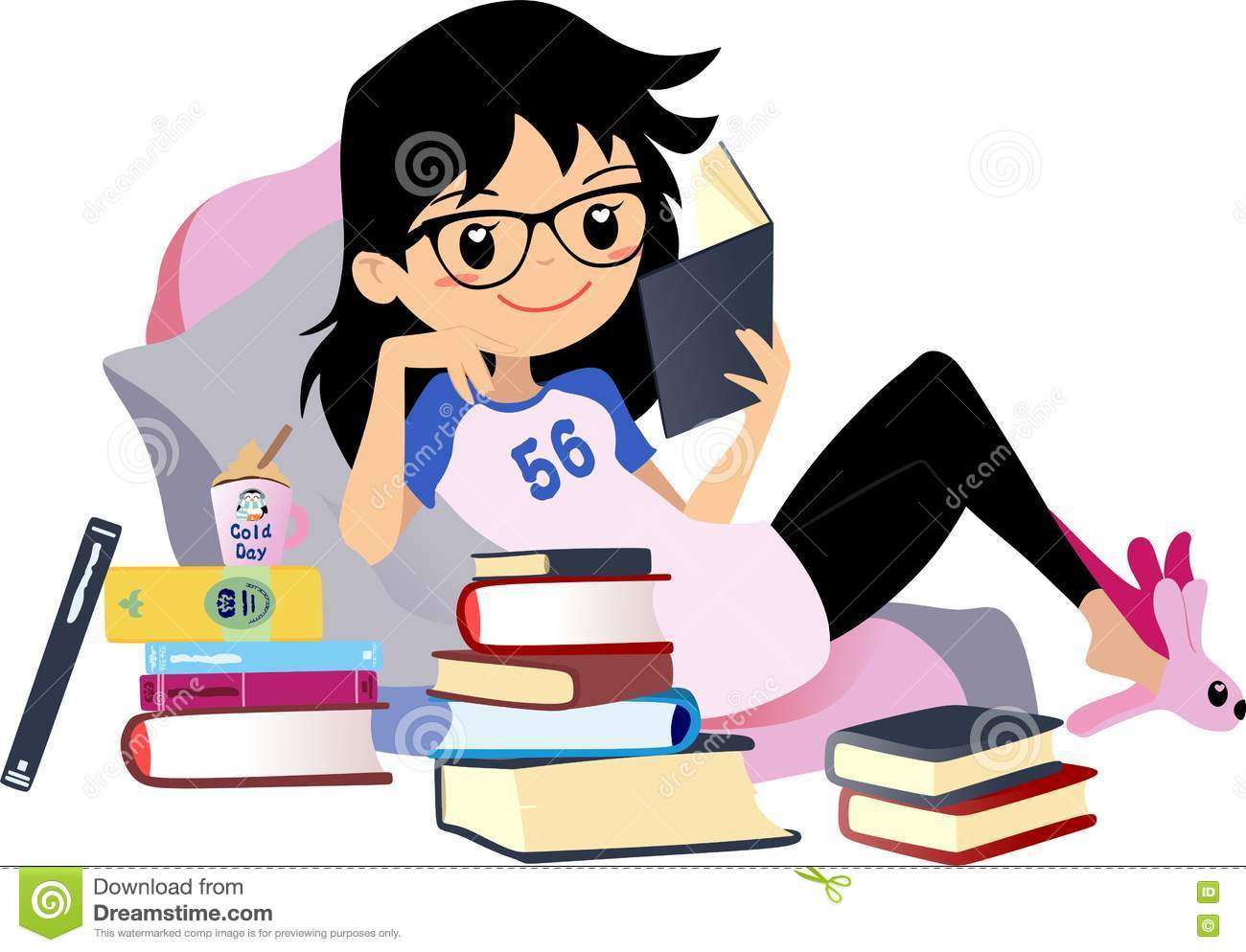 hight resolution of chic girl reading a book cute vector clip art woman black hair with glasses
