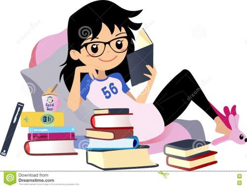 small resolution of chic girl reading a book cute vector clip art woman black hair with glasses