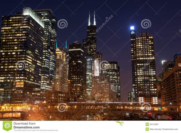 Chicago Night View Editorial - 30112657