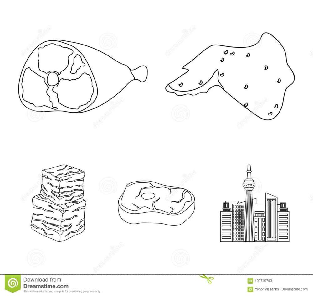 medium resolution of chicken wings ham raw steak beef cubes meat set collection icons in
