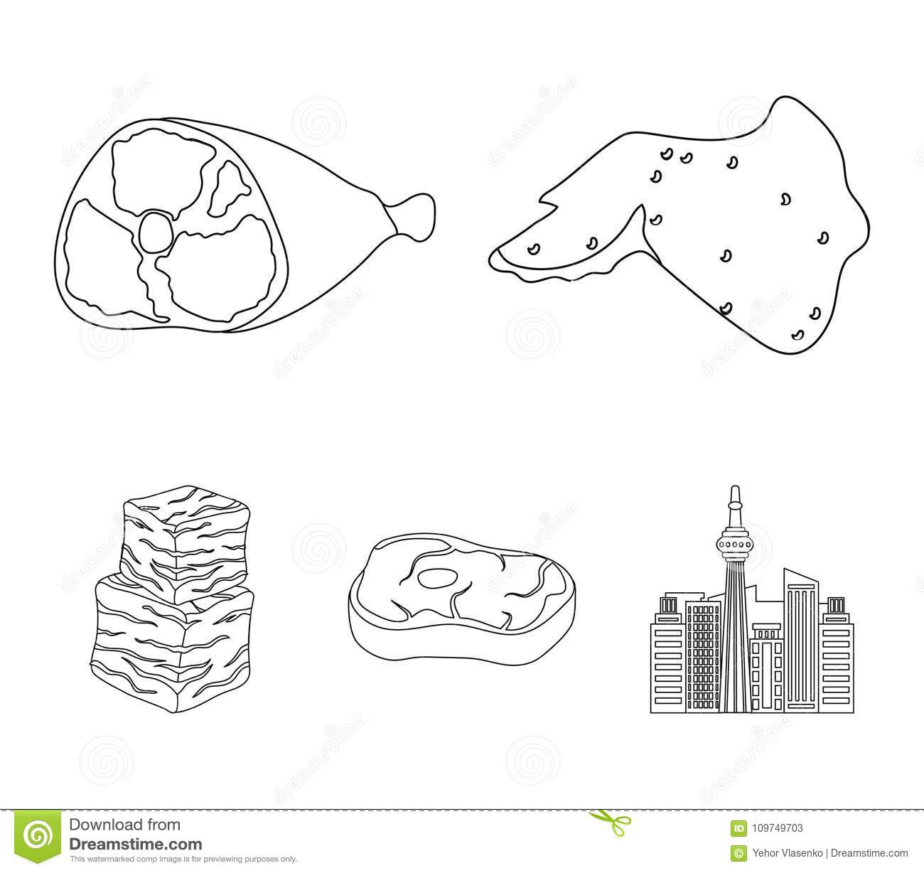 hight resolution of chicken wings ham raw steak beef cubes meat set collection icons in