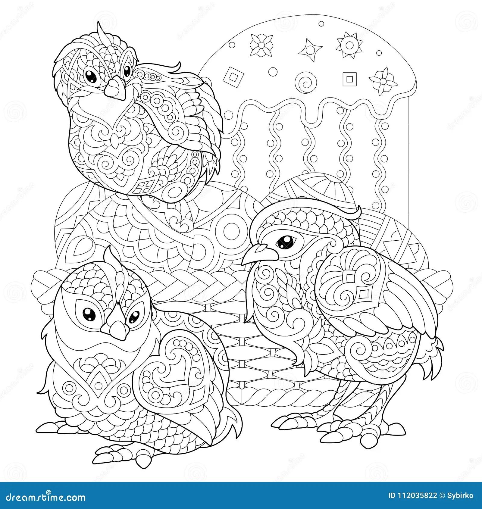 Zentangle Easter Chicks On Eggs Stock Vector