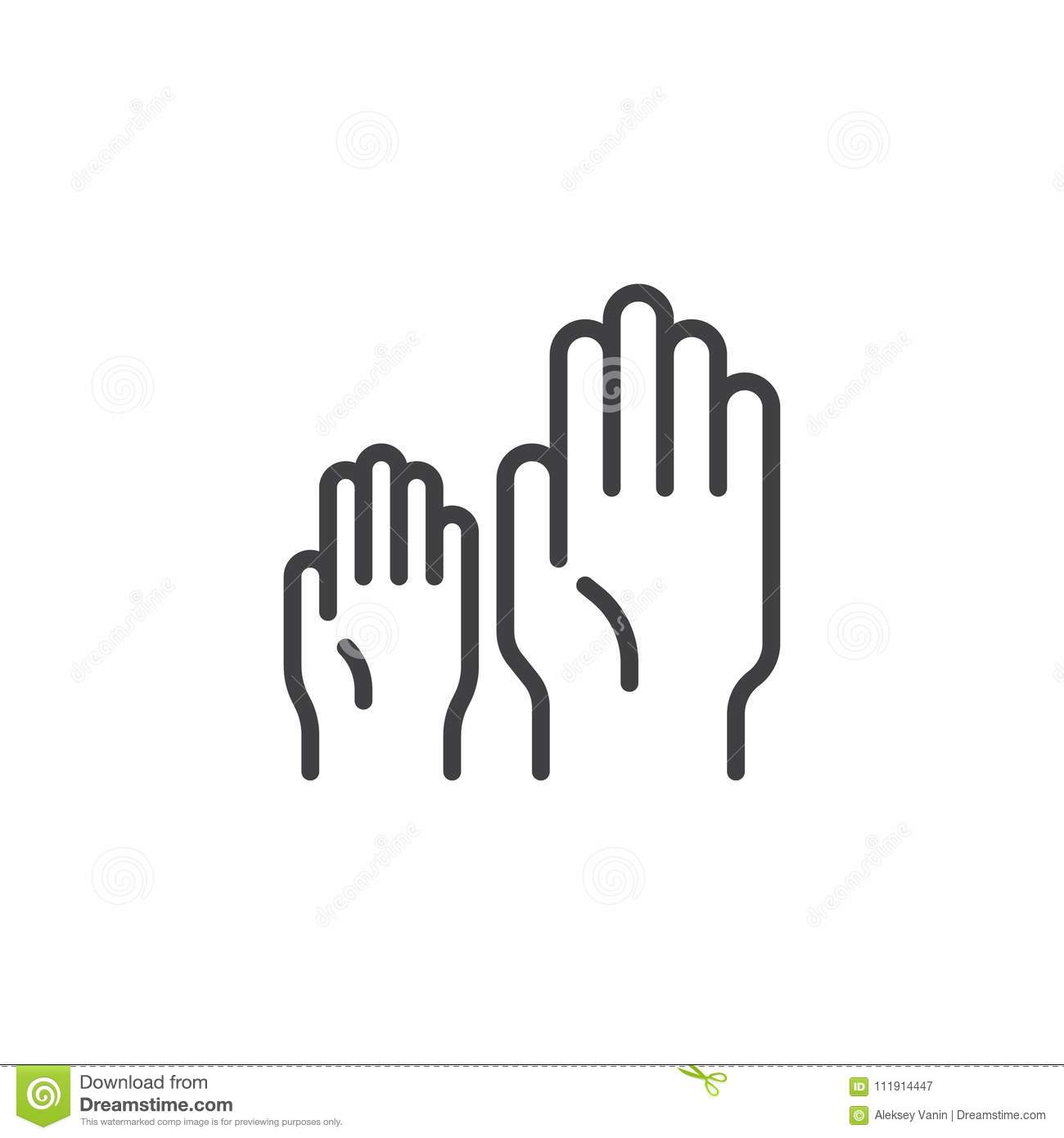 Child And Adult Hand Outline Icon Stock Vector